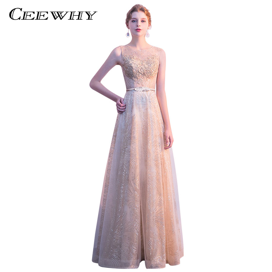 CEEWHY Vestido de Festa Avondjurk Champagne Sequined Evening Dress Long Dress for Prom Party Formal Dress Evening Gown for Women