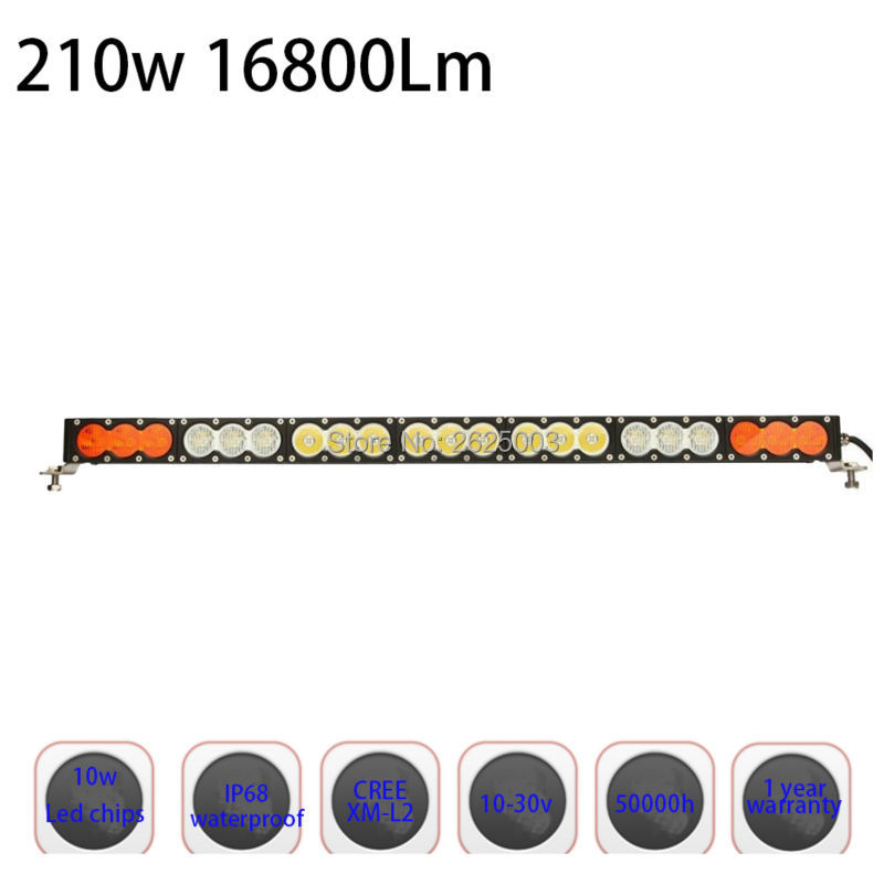210w 38Inch Dual Color White Yellow Amber Single Row Led Work Light Bar with Fog light for Jeep Truck Pickup with Combo or Spot 32 180w dual color switched white amber strobe modes led curved work light bar spot flood combo for off road driving atv truck