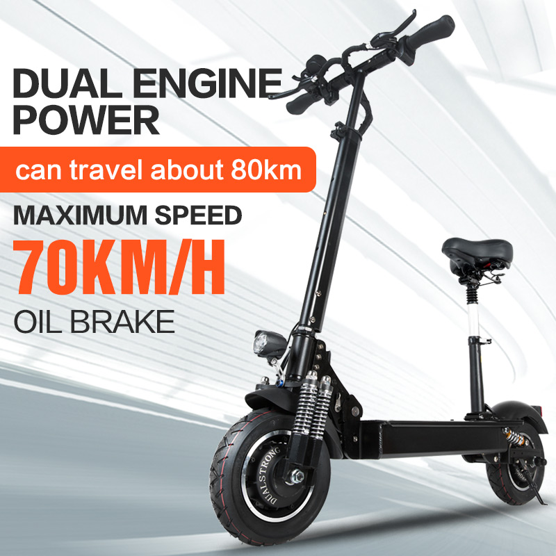 Janobike Electric scooter double drive52V 2000W with seat 10 inch road tire folding electric motorcycle pedal