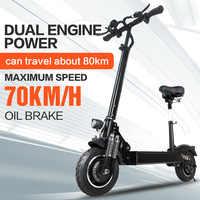 Janobike scooter électrique double drive 52v 2000 W avec siège 10 pouces pneu de route pliant moto électrique pédale adulte livraison gratuite