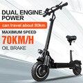 Janobike scooter elettrico doppio drive 52 V 2000 W con sedile 10 pollici pneumatico stradale pieghevole elettrico moto pedale urbano strada per adulti