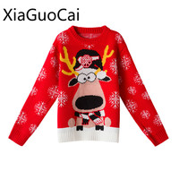 Cute Fashion Women Sweater Christmas Cartoon Regular Knitted Thick Sweaters Long Sleeve Cotton Pullovers W5 35