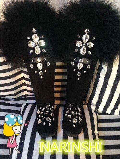 Femmes Top Qualité Rond Neige Bottes Diamants Cristal Élégant Bout Court Chaussons De En Appartements Hiver Noir Luxe p60OxqUpr