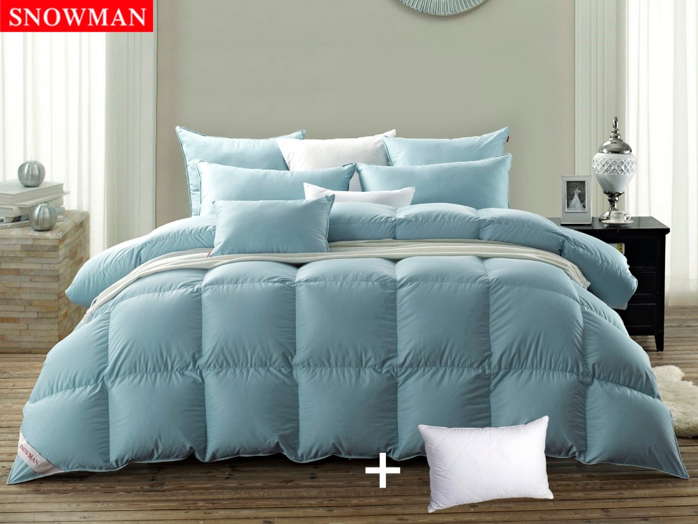 hot sales snowman white goose down winter blue comforter duvet 100 cotton cover 600tc fast
