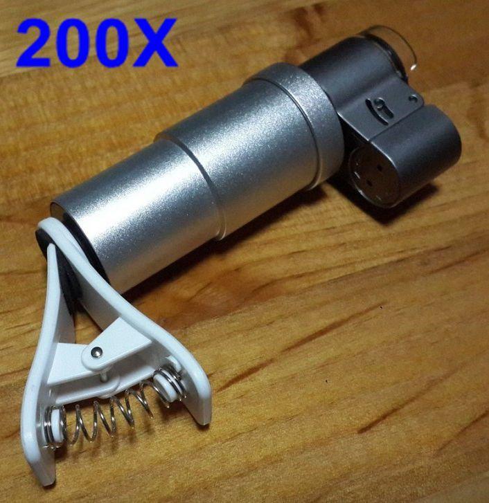 bilder für 2017 Universal Clips 200x Objektiv Mikroskop Handy Linsen Schmuck FÜHRTE vergrößerung für HUAWEI P9 P10 PLUS Honor 8 9 mate8 9