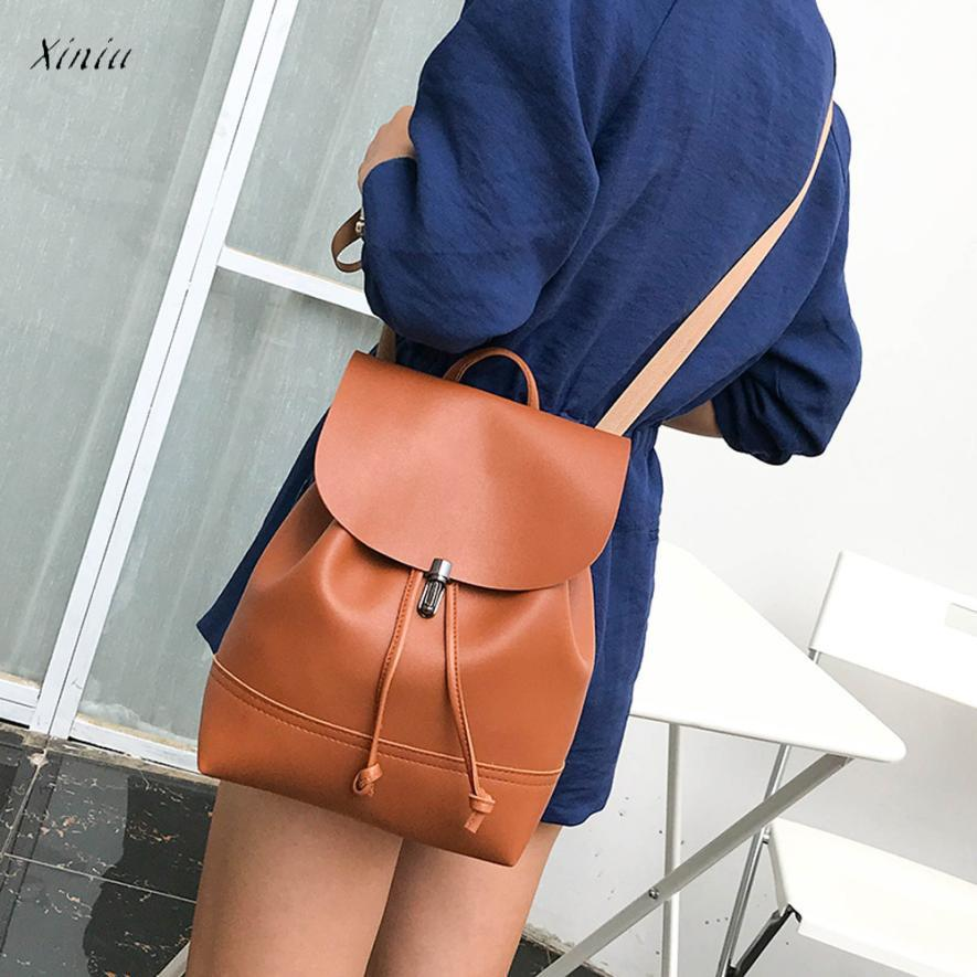 Fashion Women Backpack Vintage Pure Color Leather School Bag Backpack Satchel Backpack Women Shoulder Bag Bolsa Feminina