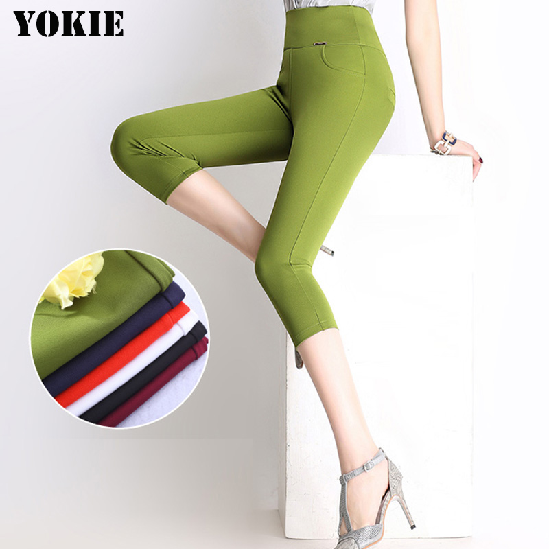 S-6XL Women   Capris     Pants   2016 Plus Size Casual   Capris   For Women Slim Elastic Cotton Candy   Capris   Women   Pants   female trousers