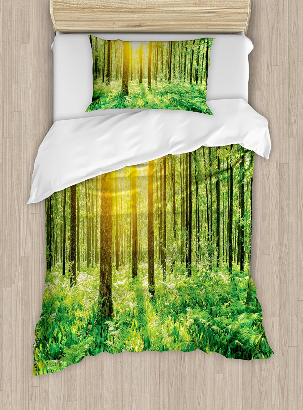 Woodland Duvet Cover Set Forest Springtime Freshness Theme