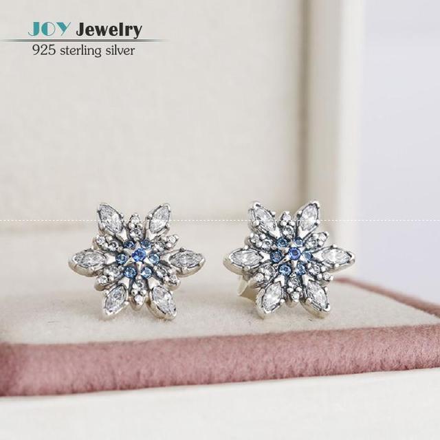 Ясно CZ & Blue Crystal Проложить Рождество Снежинка Серьги Стержня 925-Sterling-Silver Серьги Для Женщин Fit Европейский Стиль Ювелирные Изделия