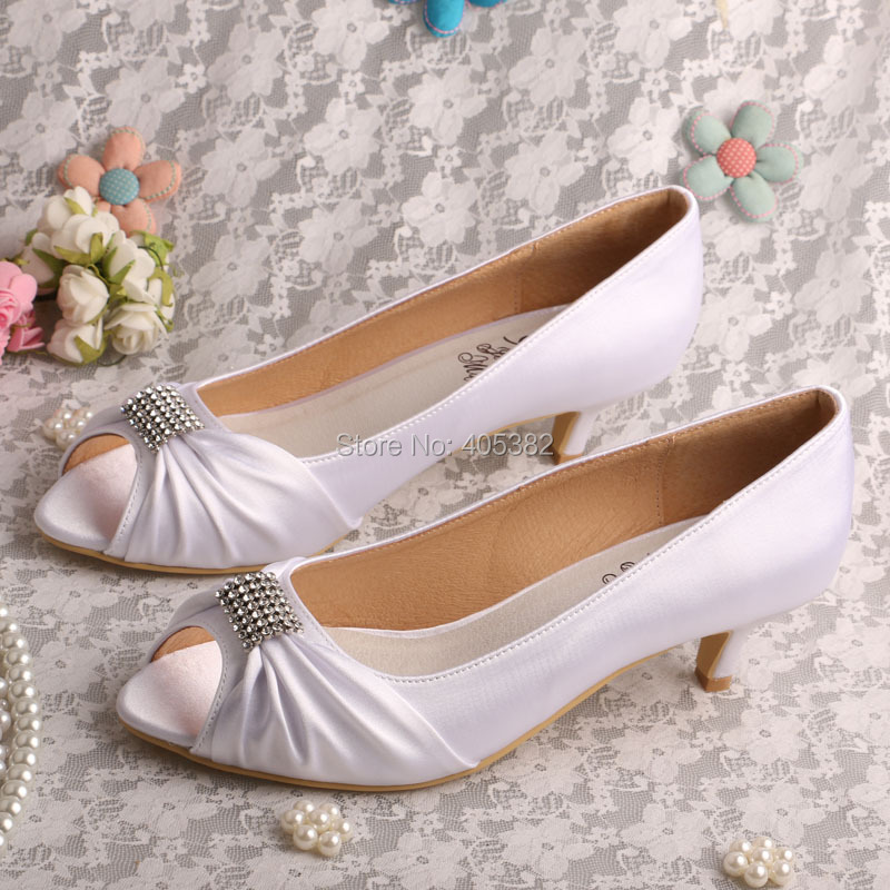 low heel wedding shoes with rhinestones women s peep toe rhinestone low heel satin wedding shoes 5618