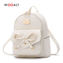 Wooalt Fashion Women Mini Backpacks for Girls Bowknot Cute Small Backpack PU Leather School Bags Ladies Travel Shoulder