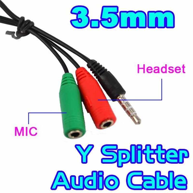 3.5mm Jack męski na 3.5 mikrofon i słuchawki żeński przedłużacz rozdzielacz audio kabel Y Stereo Splitter dla iPhone 4 5 5S 6 7
