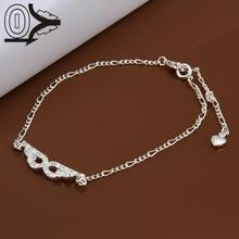Hot Sale!!Fashion Silver Plated Anklets,Wedding Jewelry Accessories,Lose Money Inlain Zircon Goggles shaped Charms Anklet