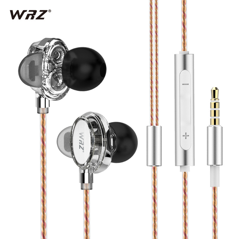 Original WRZ X7 Earphone In Ear Double Dynamic Hifi Earbuds Bass Music Headset 3.5mm Jack Earplug with Microphone Earphones new original qkz kd8 super hifi bass in ear music earphone with double dynamic unit driver running sport earplug headset earbud