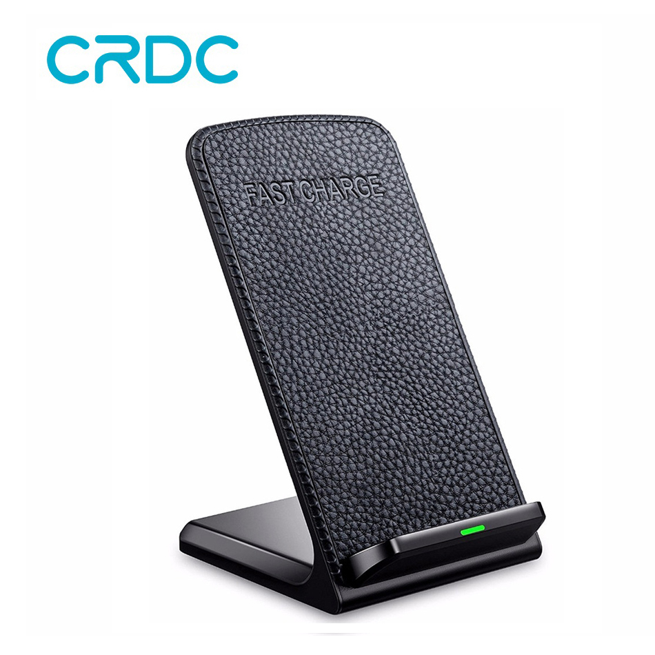 CRDC Wireless-Charger Charging-Pad Desktop Dual-Coil Qi Fast Samsung iPhone X for 8-Plus