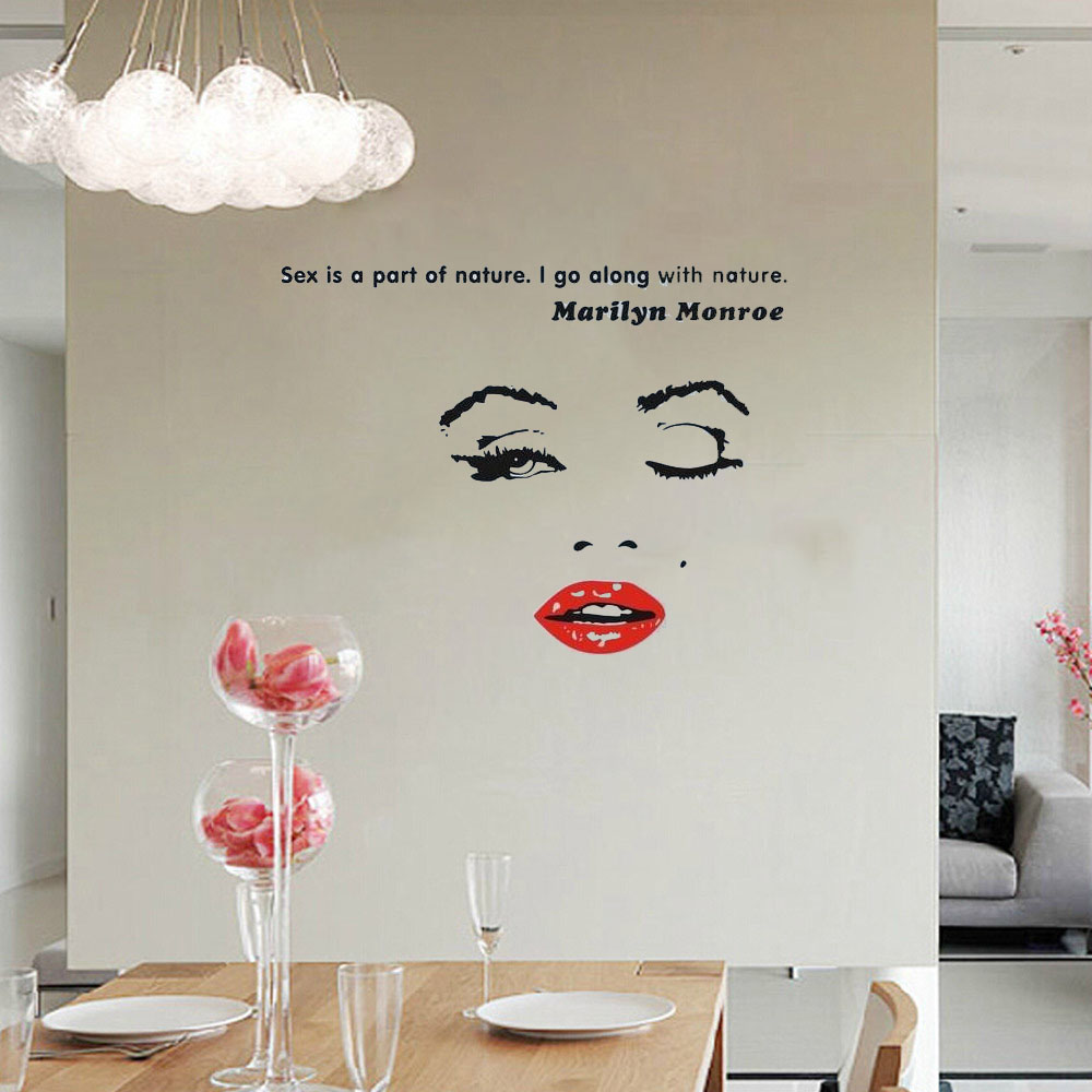 Diy Marilyn Monroe Quote Moon Star Wall Sticker Living Room Vinyl Bedroom Decoracion Bathroom Wallpapers Home
