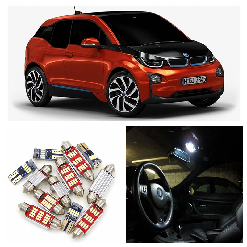 13pcs Super Bright White Canbus No Error LED Light Car Bulbs Interior Package Kit For 2014-2015 BMW i3 Map Dome Trunk Door Lamp 15pcs white canbus error free car led light bulbs interior package kit for 2002 2003 2004 audi a4 b6 map glove box door lamp