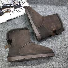 GXLLD Fashion Women Snow Boots Genuine Sheepskin Leather Woman Mid-Calf Boots 100% Natural Fur Casual Warm Shoes Winter Boots