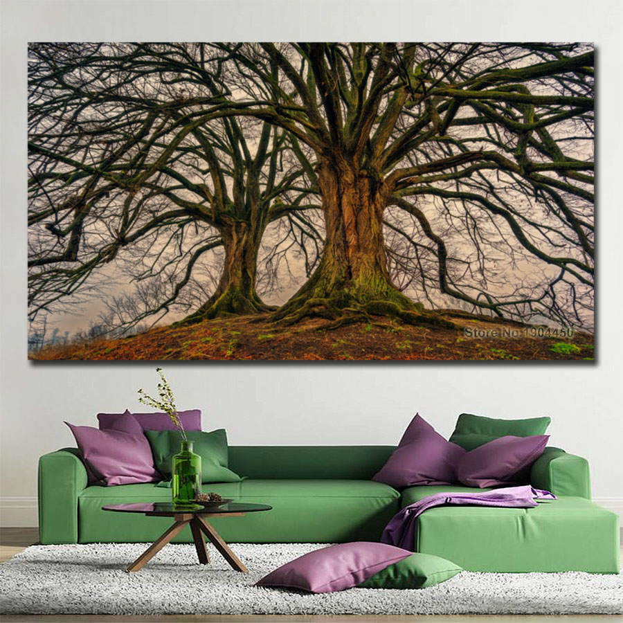 No Frame Canvas Wall Art Tree Art Painting Modular Picture ...