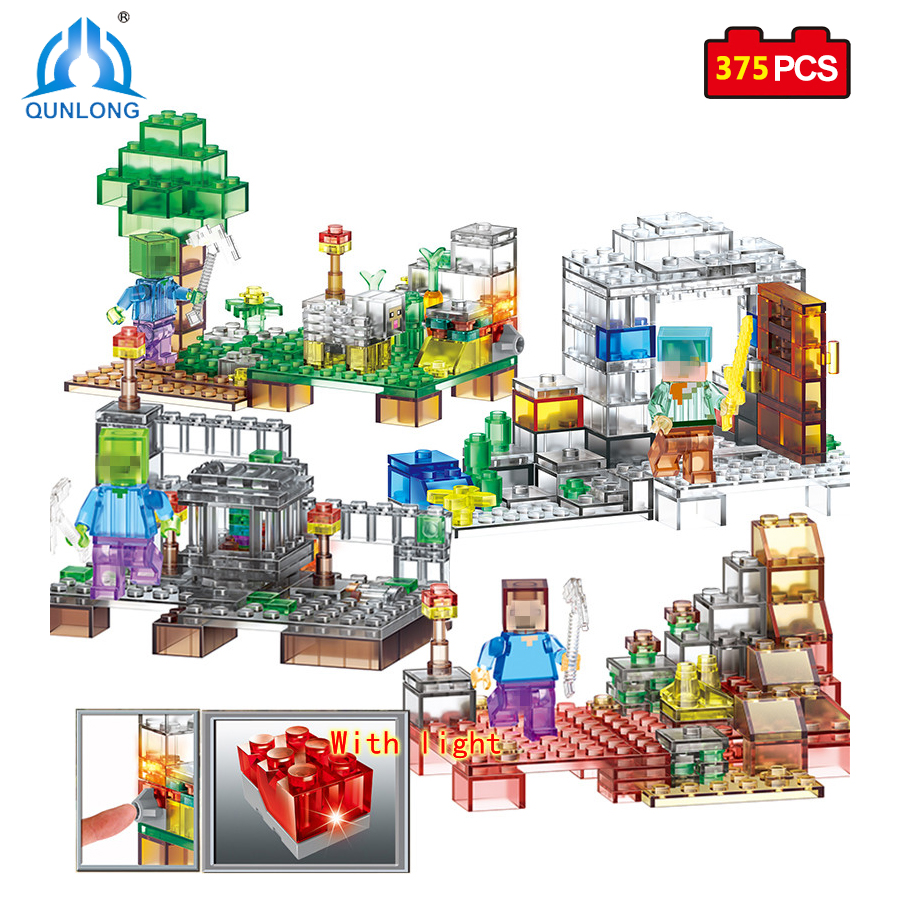 Qunlong Toys 4 in 1 Crystal Light Toys My World Minecrafted City Building Blocks Educational Toy Mini Figures Compatible Legoed 8 in 1 military ship building blocks toys for boys