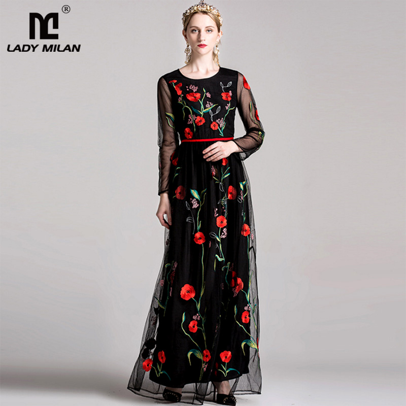 New Arrival 2018 Womens O Neck Long Sleeves Luxury Floral Embroidery Elegant Maxi Prom Runway Dresses in 2 Colors
