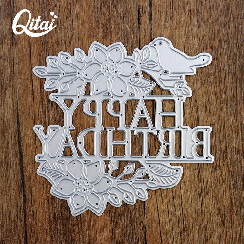 Qitai feliz aniversário palavras de corte de metal dados estêncil para diy scrapbooking álbum de fotos gravando cartões de papel artesanal dados novo d158