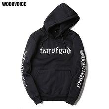 2017 Woodvoice Brand Men Hoodies Letter Sweatshirts Mens Hoodie With Hat Hoody Big Pocket Hip Hop Hooded Hood Pullover Top Male