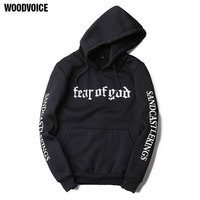 2017 Woodvoice Brand Men Hoodies Letter Sweatshirts Mens Hoodie With Hat Hoody Big Pocket Hip Hop