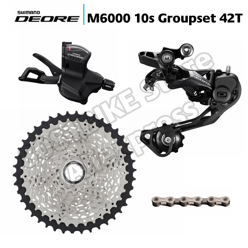 US $66 6 |Shimano DEORE M6000 / M610 / M615 10 Speed Shifter + Rear  Derailleurs + 42T 46T 50T ZRACE Cassette + KMC X10 93 Chain Groupset-in  Bicycle