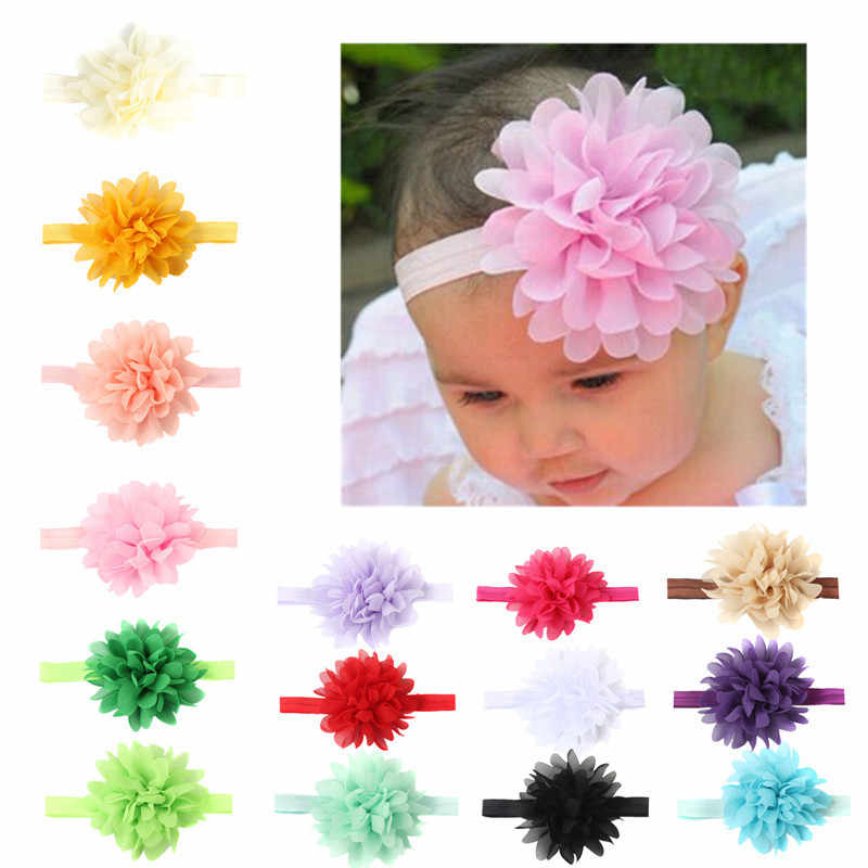 Lovely Baby Girl Elastic Hairband Chiffon Flower Newborn Baby Girl Headbands Baby Hair Band For Kids Baby Hair Accessories