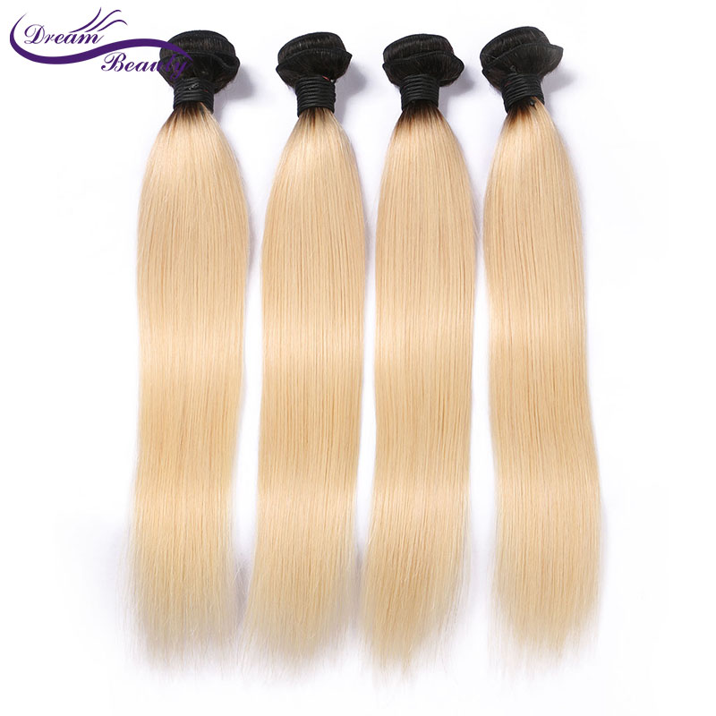 Dream Beauty Color 1b 613 ombre Blonde remy Brazilian Straight Hair 100 Human Hair Bundles Free