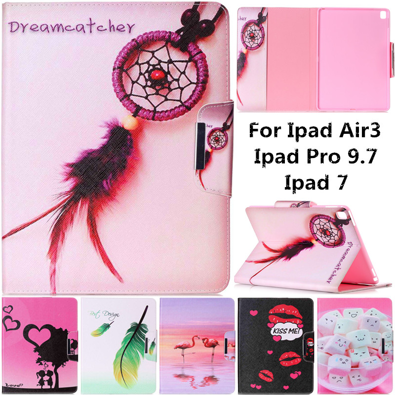 Cute Cartoon Flamingos Lovers Lips Kiss Stand Leather Smart Fundas Case For Apple IPad Pro 9.7 IPad Air 3 IPad 7 Tablet Cover