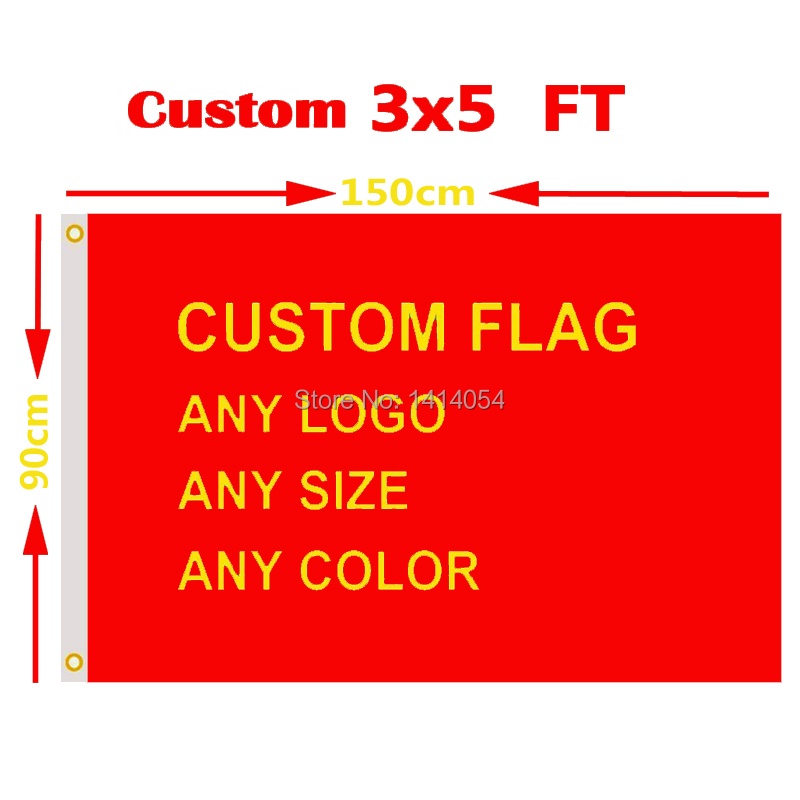 Bandera personalizada 3x5 FT Venta caliente Banner diseño libre 100D poliéster de publicidad al aire libre bandera arandelas de latón y envío gratis