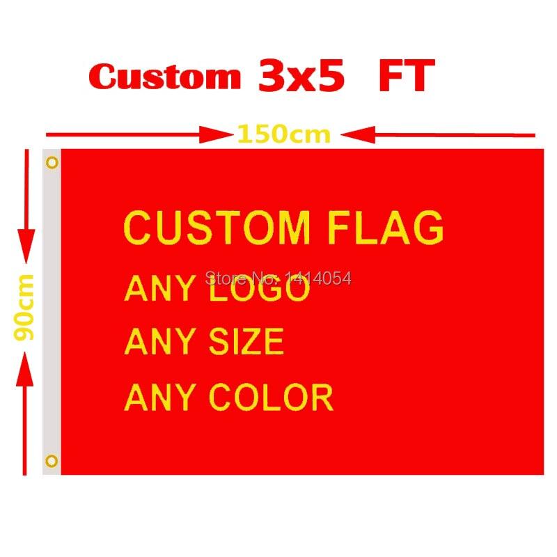 Custom Flag 3x5 FT Hot Sell Banner Free Design 100D Polyester Advertising Outdoor Flag Brass Grommets, Free Shipping