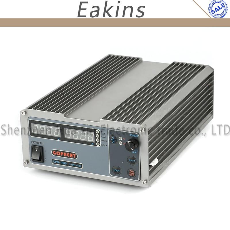 Interruptor CPS-1660 Compact Digital Ajustável DC Power Supply OVP/OCP/OTP MCU 16 V 60A PFC Ativo 170 v-264 V + EU + Cabo