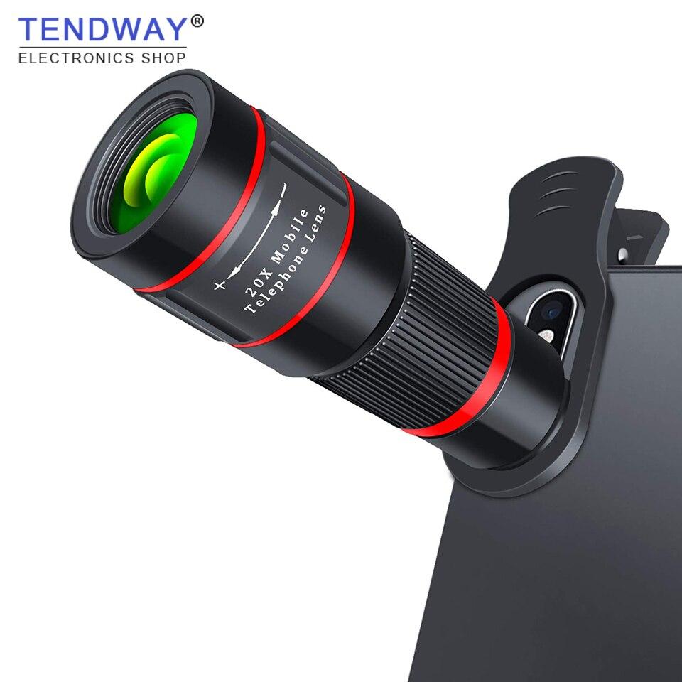 Tendway 20X Lente Teleobjetiva Zoom 4 K HD Monocular Telescope Camping Caminhadas Xs X 8 Lente Da Câmera Do Telefone Para o iphone além de 7 Samsung