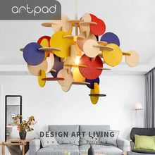Artpad Creative DIY Building Blocks Colorful Pendant Lamp For Children Room Nordic Wood Hanging Led Bedroom Kindergarten Decor