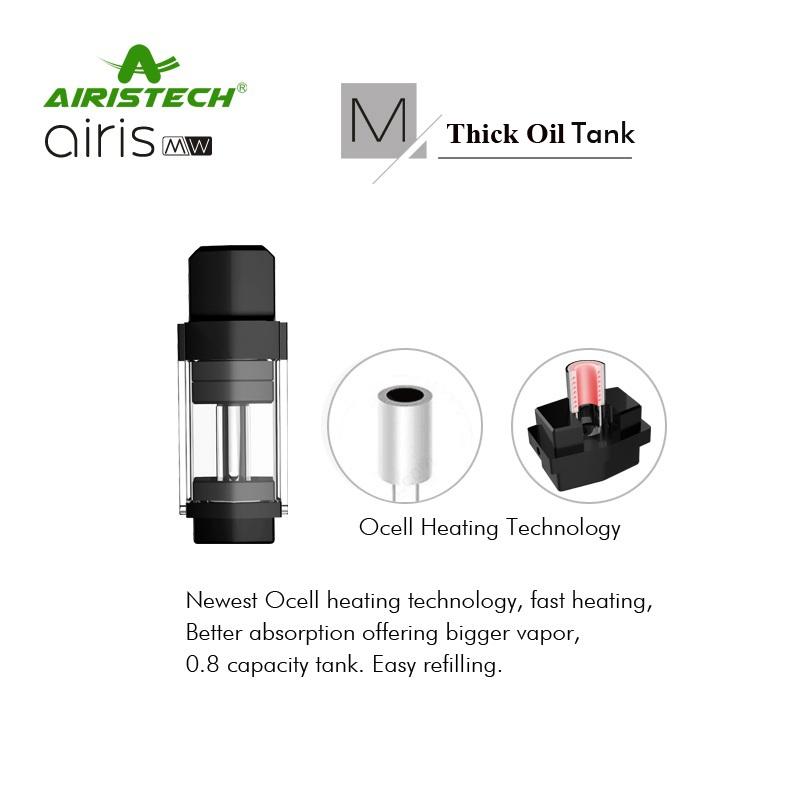 , Original Airistech Airis MW Vaporizer 2 IN 1 wax and Thick oil Vape Pod Pen 350Mah Battery Plug Connection Pods mod MW Vapor kit