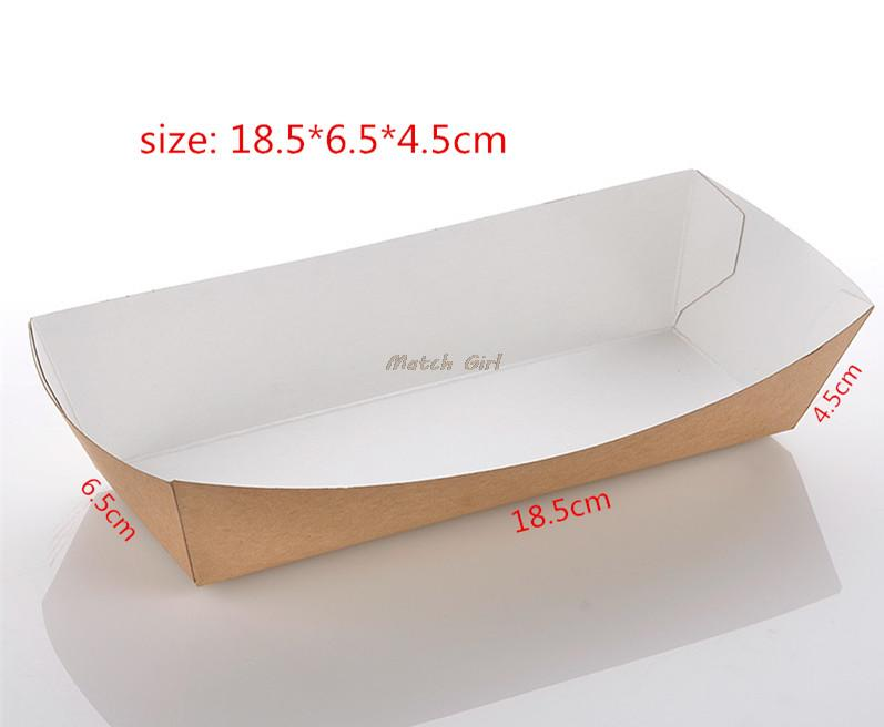 100pcs/lot-18.5*6.5*4.5cm Disposable Kraft Paper French Fries box Fried Chicken Popcorn Dessert Storage Box Party Food Package
