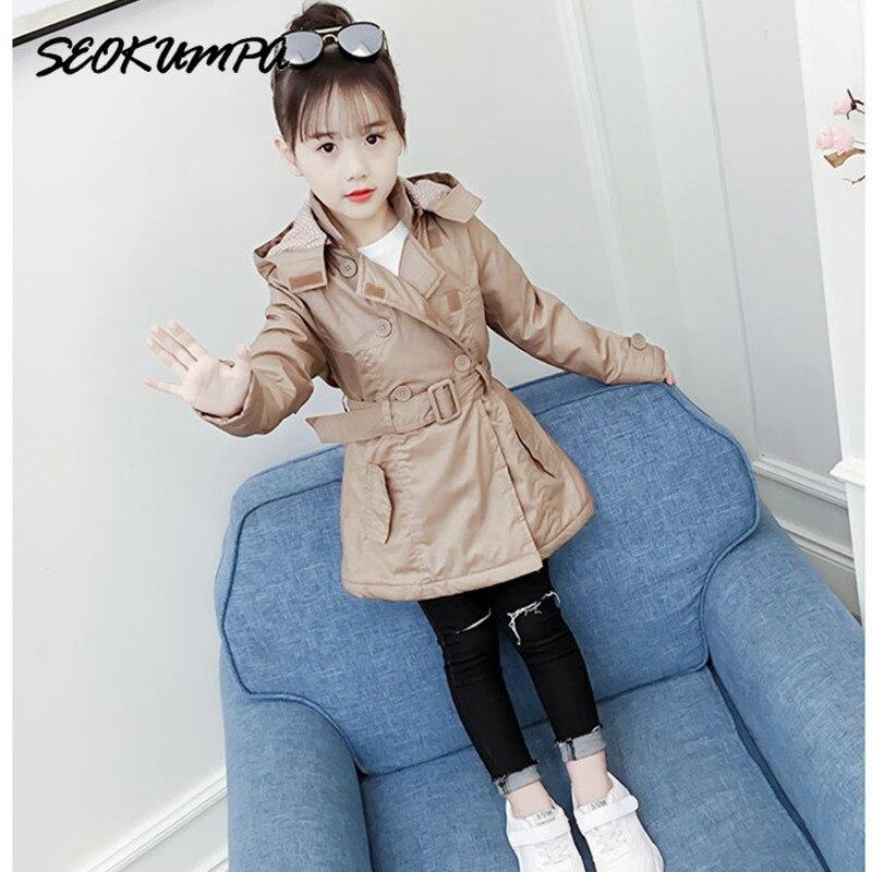 Girls   Trench   Coats Detachable Hooded Windbreaker Autumn Winter Fashion Medium Long New Belt Girl Jacket Teenager 4-11T Outerwear