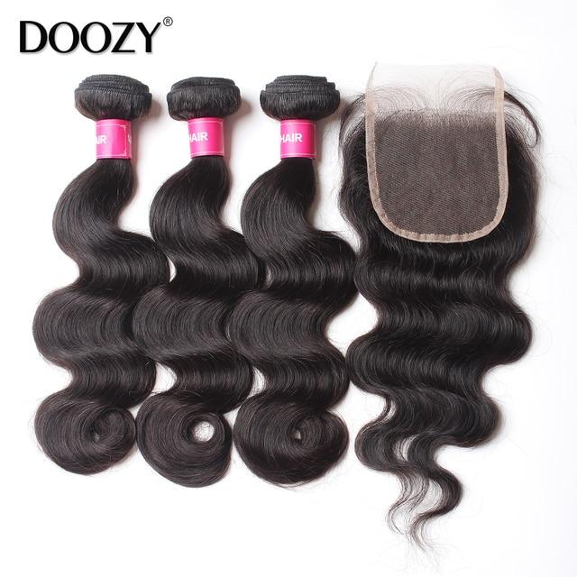 3 связки необработанных virgin человеческих волос 7А объемная волна бразильского виргинские волос с закрытием