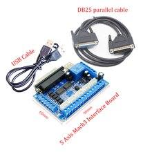 5 осевое Breakout совета Интерфейс с USB + 25 пальцы кабель для шагового водителя MACH3 ЧПУ маршрутная плата параллельно Порты и разъёмы Управление