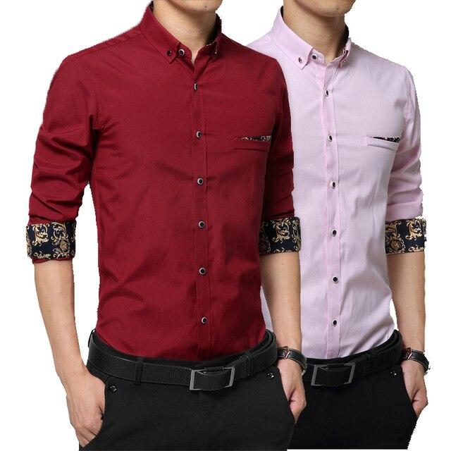 2016 Luopei Мужские Рубашки Turn Down Воротник С Длинным Рукавом Cutton Slim Fit Повседневная Рубашка