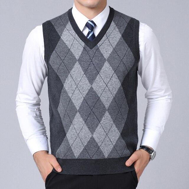 2019 Nova Marca de Moda Camisola Para Homens Pullovers plaid Slim Fit Jumpers Knitred Colete Outono Estilo Coreano Dos Homens Casuais Roupas