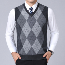 2020 New Fashion Brand Sweater For Mens Pullovers plaid Slim Fit Jumpers Knitred Vest Autumn Korean Style  Casual Men Clothes