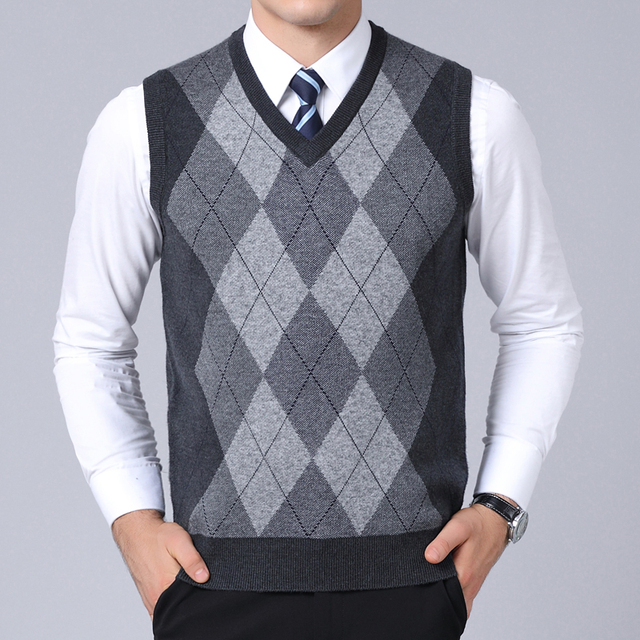 2021 New Fashion Brand Sweater For Mens Pullovers plaid Slim Fit Jumpers Knitred Vest Autumn Korean Style  Casual Men Clothes