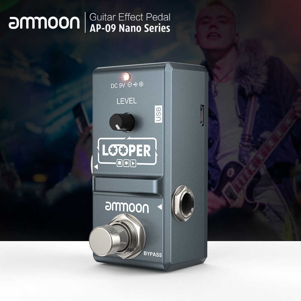 ammoon Looper Guitar Pedal Nano Series Loop Effect Pedal Electric Guitar Effect Pedal Looper True Bypass Unlimited Overdubs