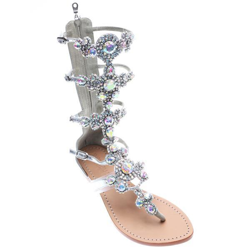 JF 2018 Women Flats Gladiator Sandal Gold Rhinestone Mid calf Zip Strap  Boots Bohemia Style Crystal Beach Summer Shoes Plus Size-in Low Heels from  Shoes on ... a6ff8994124e