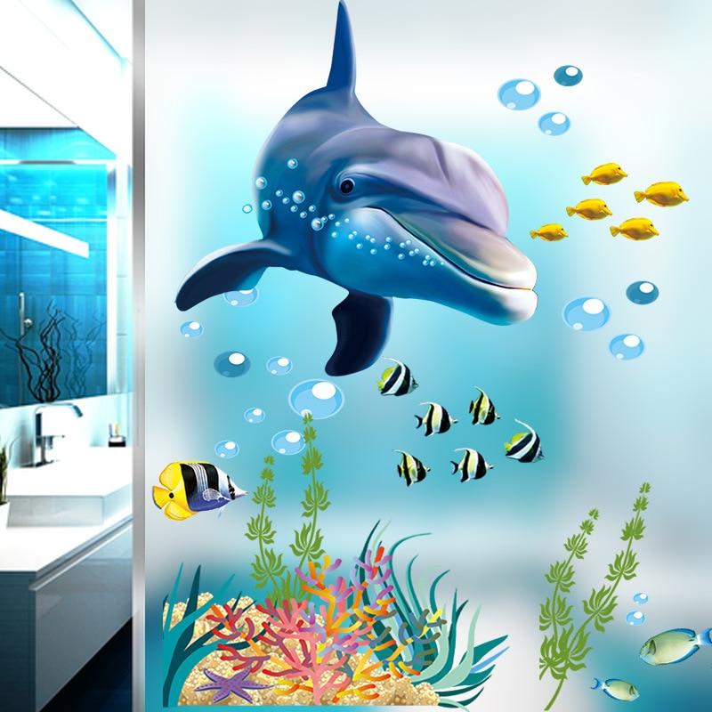 Autocollant mural avec des dauphins du monde sous-marin, décalcomanies en verre pour chambre denfant, décoration pour la maison