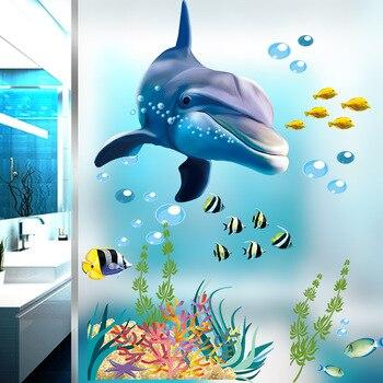 Cartoon Underwater World Dolphins Animals Wall Sticker Kids Rooms Decals Bedroom Nursery Glass Windows Home Decor Stickers
